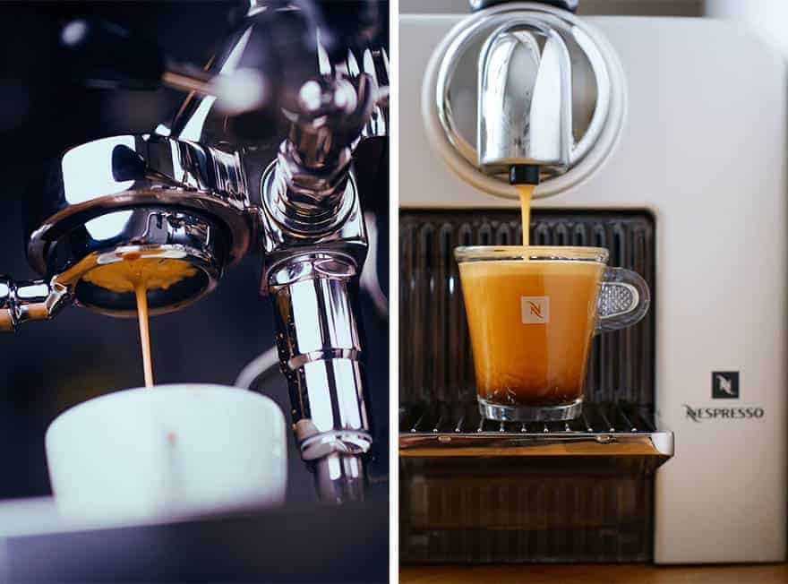 Espresso machine on the left and Nespresso machine on the right
