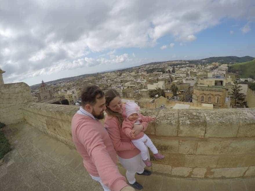 citadel Gozo family couple toddler view