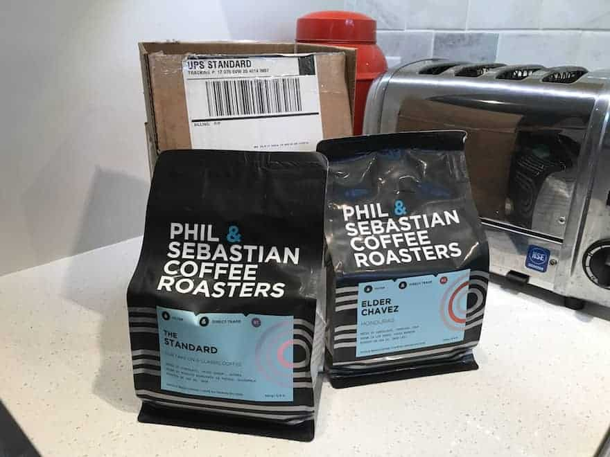 two bags of coffee from phil and sebastian coffee roasters