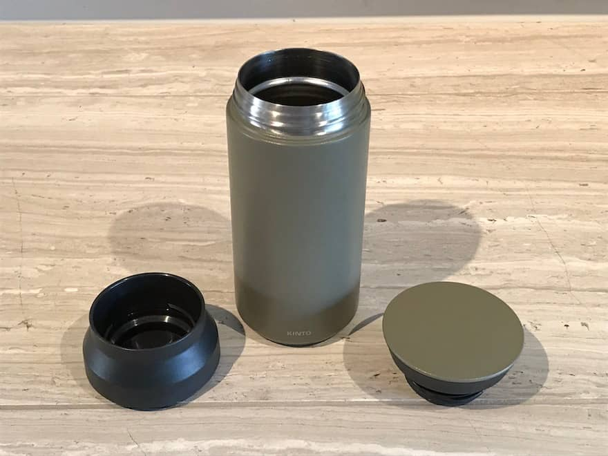 Three pieces of the Kinto Travel Tumbler
