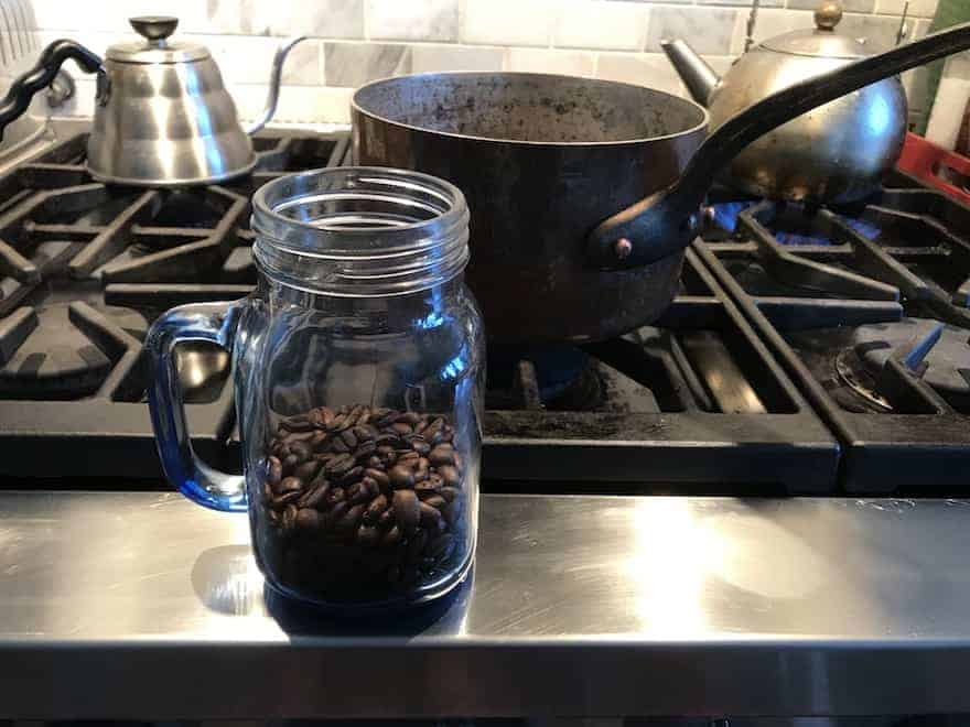 Coffee beans in mason jar