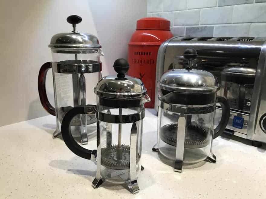 French presses come in a number of sizes. Left to right: 32 oz, 8 oz and 16 oz.