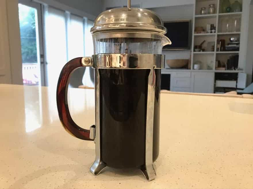 Coffee grounds typically steep for 4-5 minutes in a French press.