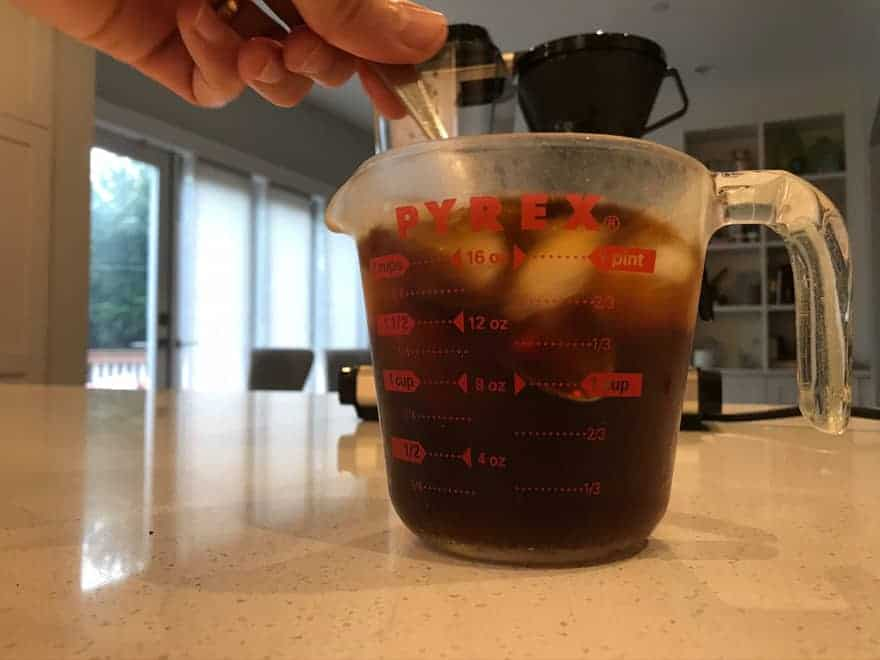 Stir only until the coffee has cooled, and then move on quickly.
