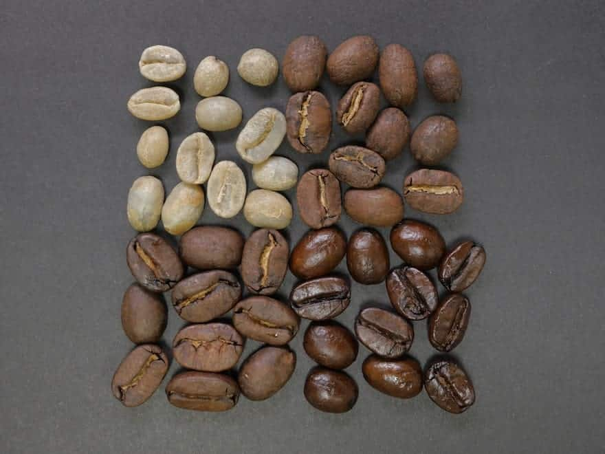 Coffee beans at various stages of a roast