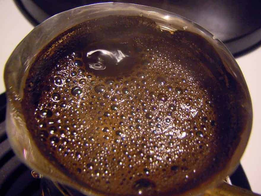 Foam forming on top of Turkish coffee