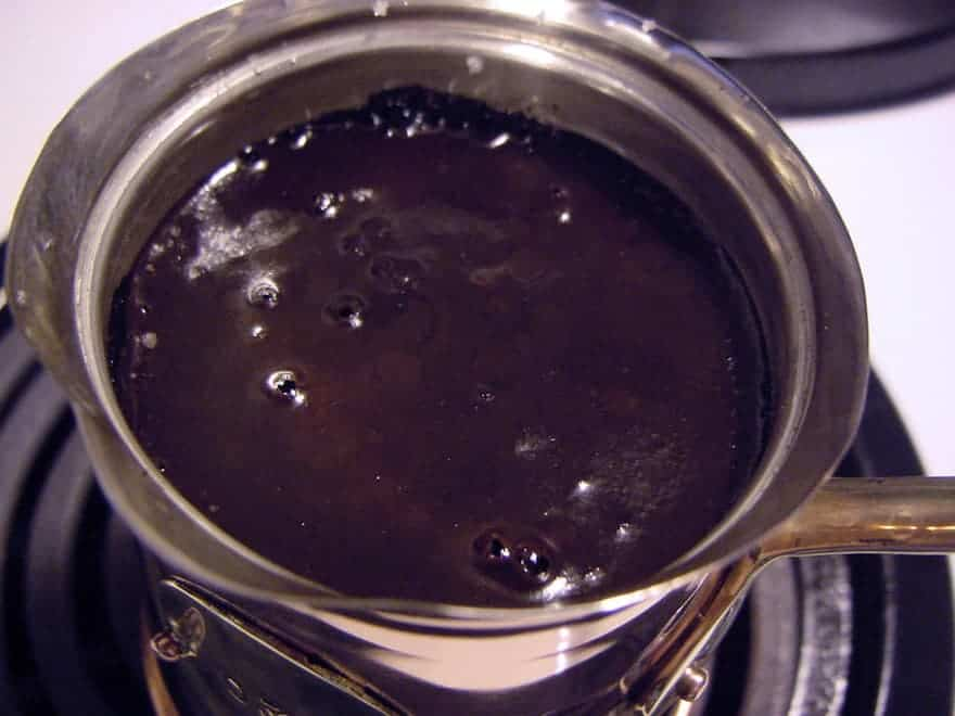 Turkish coffee beginning to bubble