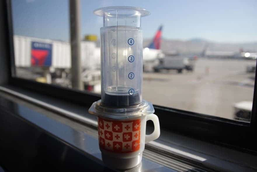 Brewing with an Aeropress in an airport gate lounge