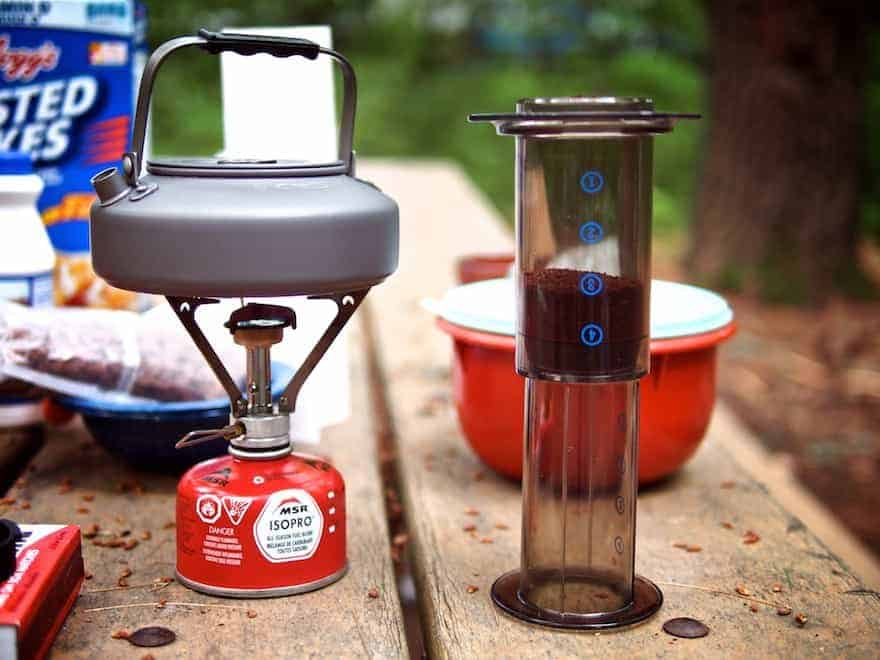 Campers using an Aeropress