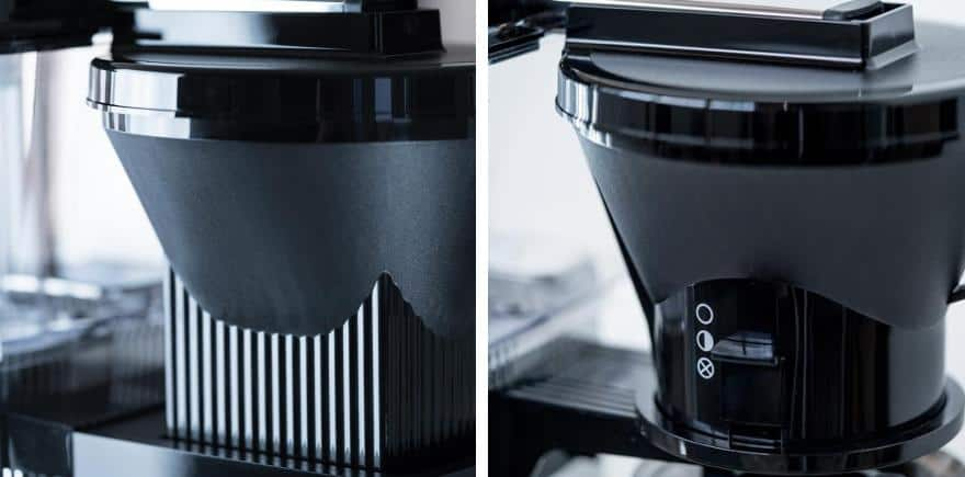 Moccamaster brew baskets with automatic drip stop (left) and manual (right)