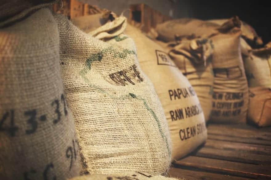 Burlap sacks full of coffee beans