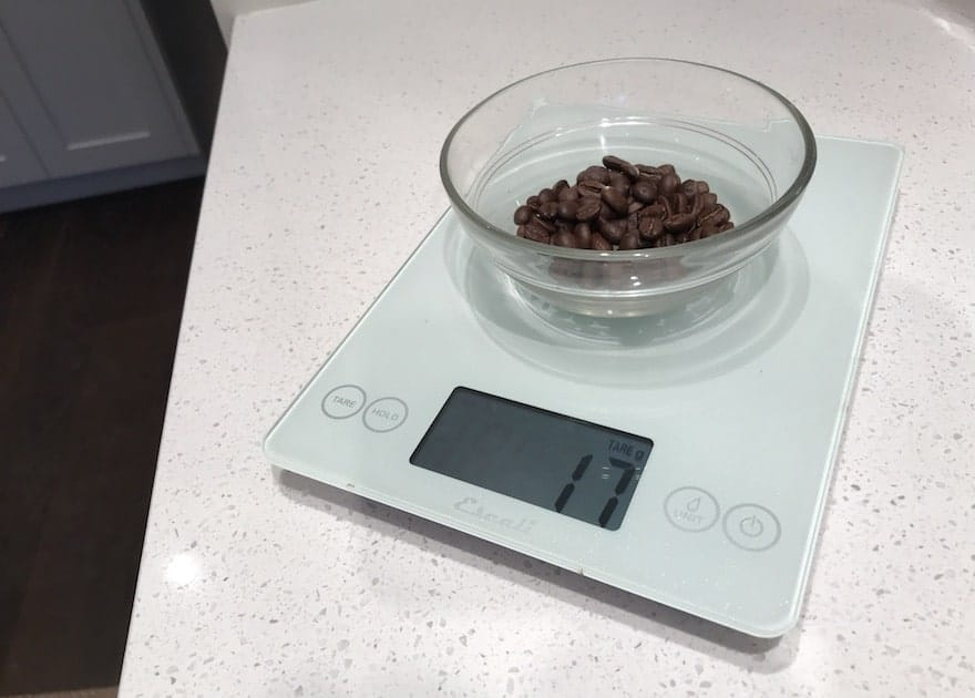 17 grams of coffee beans on a scale