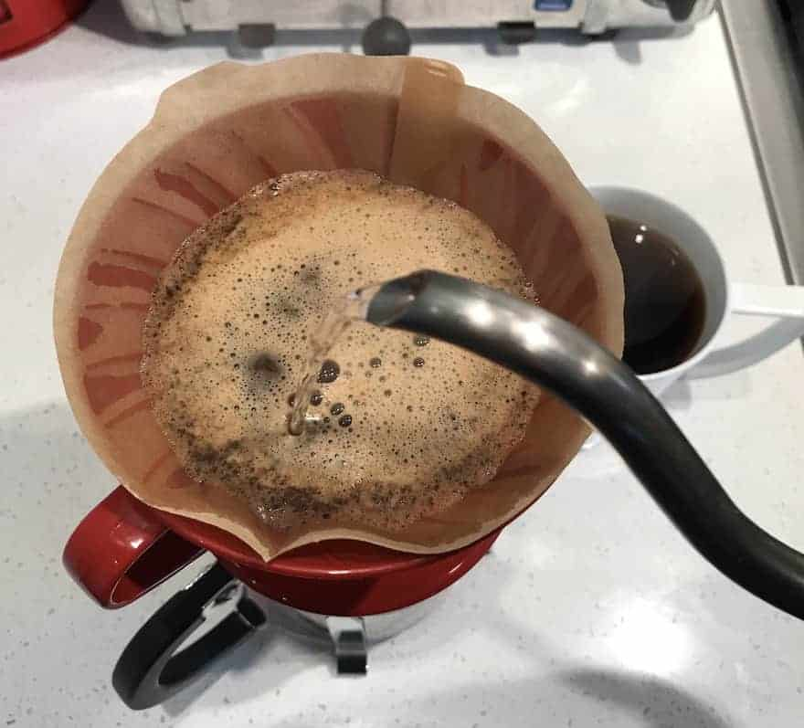 Overhead shot making pour-over with Phil & Sebastian coffee