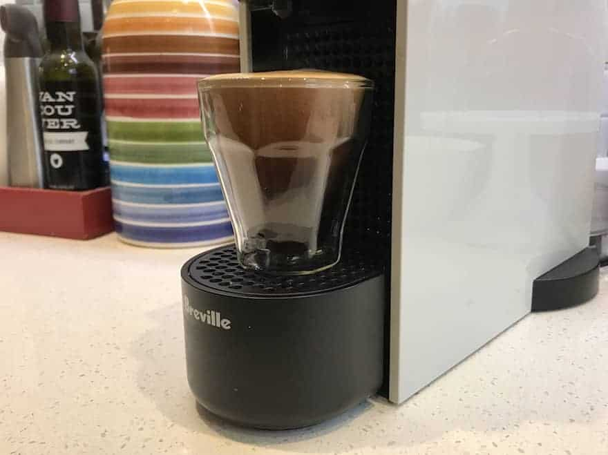 Long espresso brewing on a Nespresso Essenza Mini