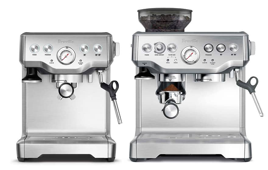Breville Infuser on the left alongside the Breville Barista Express