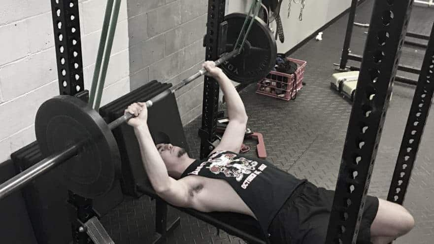 image of reverse band bench press