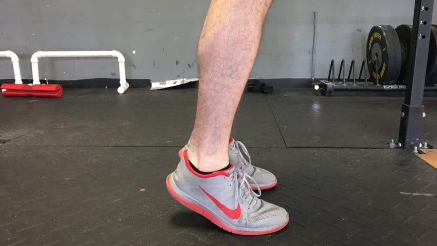 image of isometric heel raise achilles tendinopathy