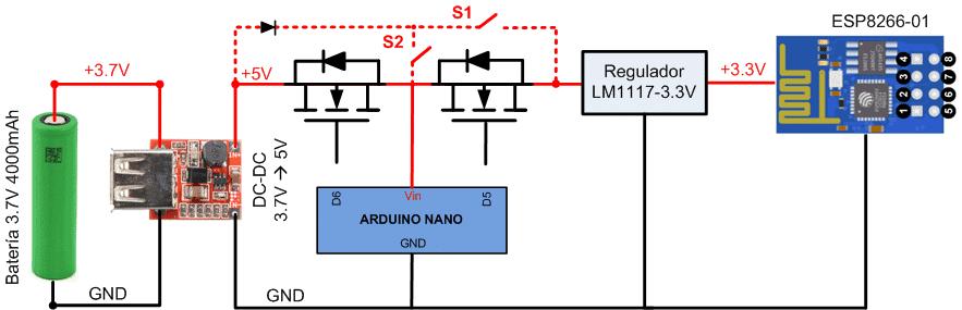 Alimentación módulo ESP8266-01. Arduino