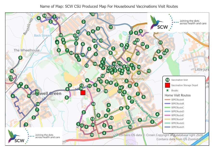 Map with the optimized vaccination routes. Map: SCW CSU.