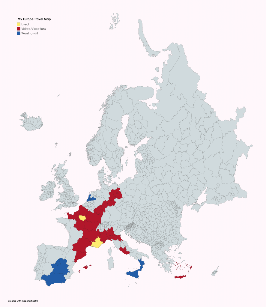 Travel map based on Europe's provinces/counties.