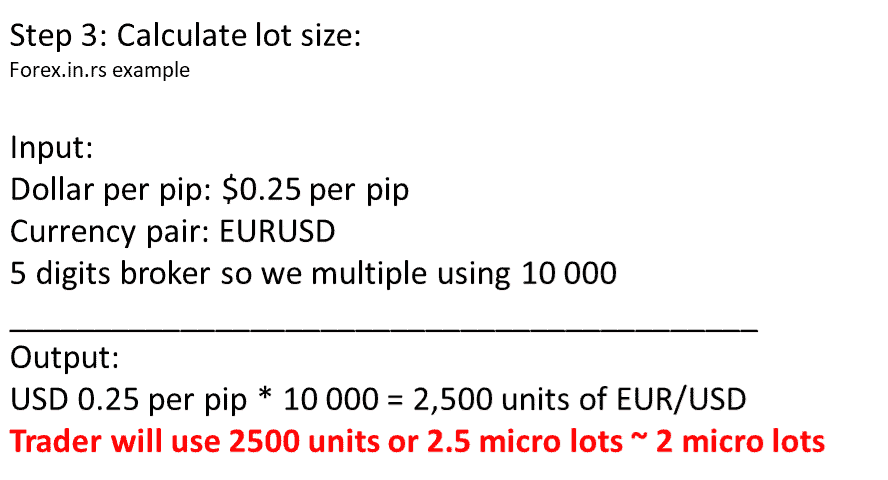 forex lot size based on dollar per pip