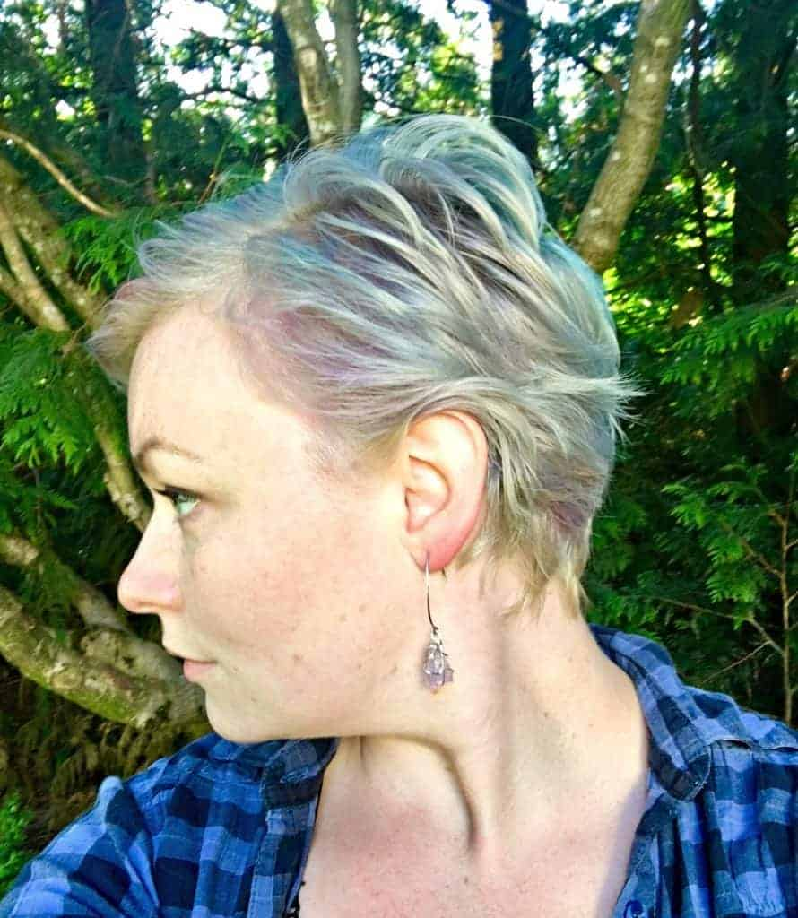 profile shot of girl with blue purple green hair