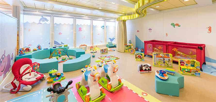 The younger kids play room on the msc sinfonia