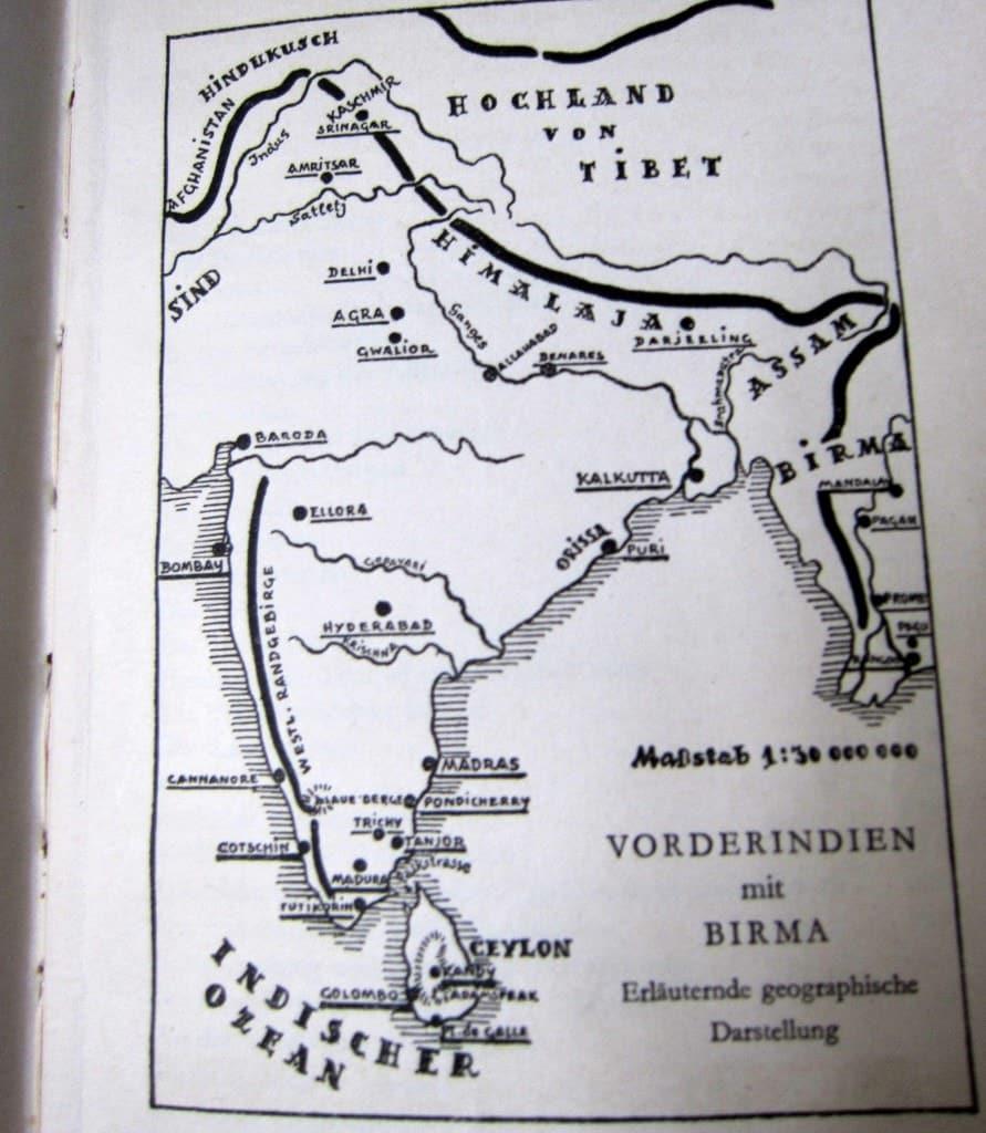 Landkarte Vorderindien - Von Ceylon zum Himalaya