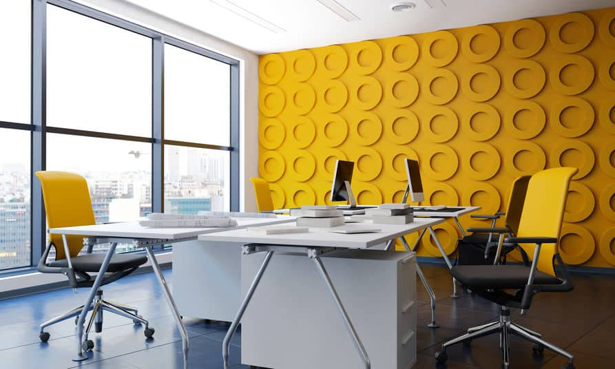 Modern office interior with yellow funishing