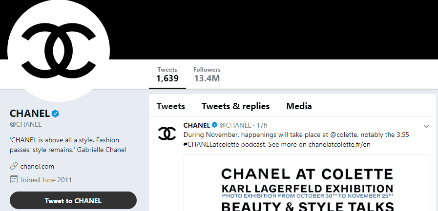 Chanel Twitter profile - Influencer Marketing Statistics