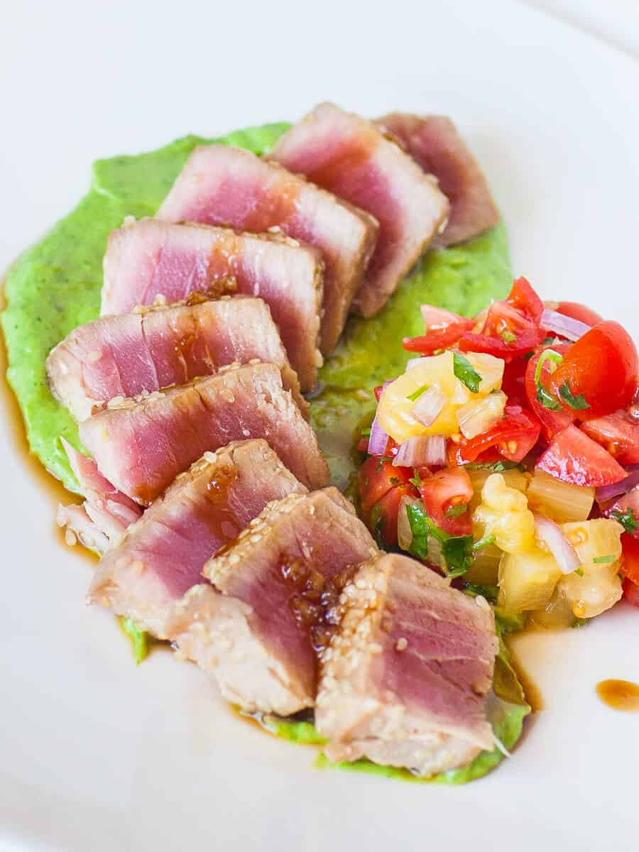 seared ahi tuna recipe with avocado cream and pineapple salsa