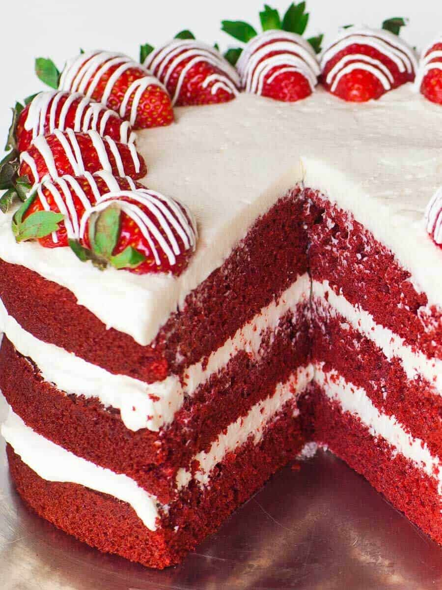 red velvet cake recipe with cream cheese frosting and strawberries
