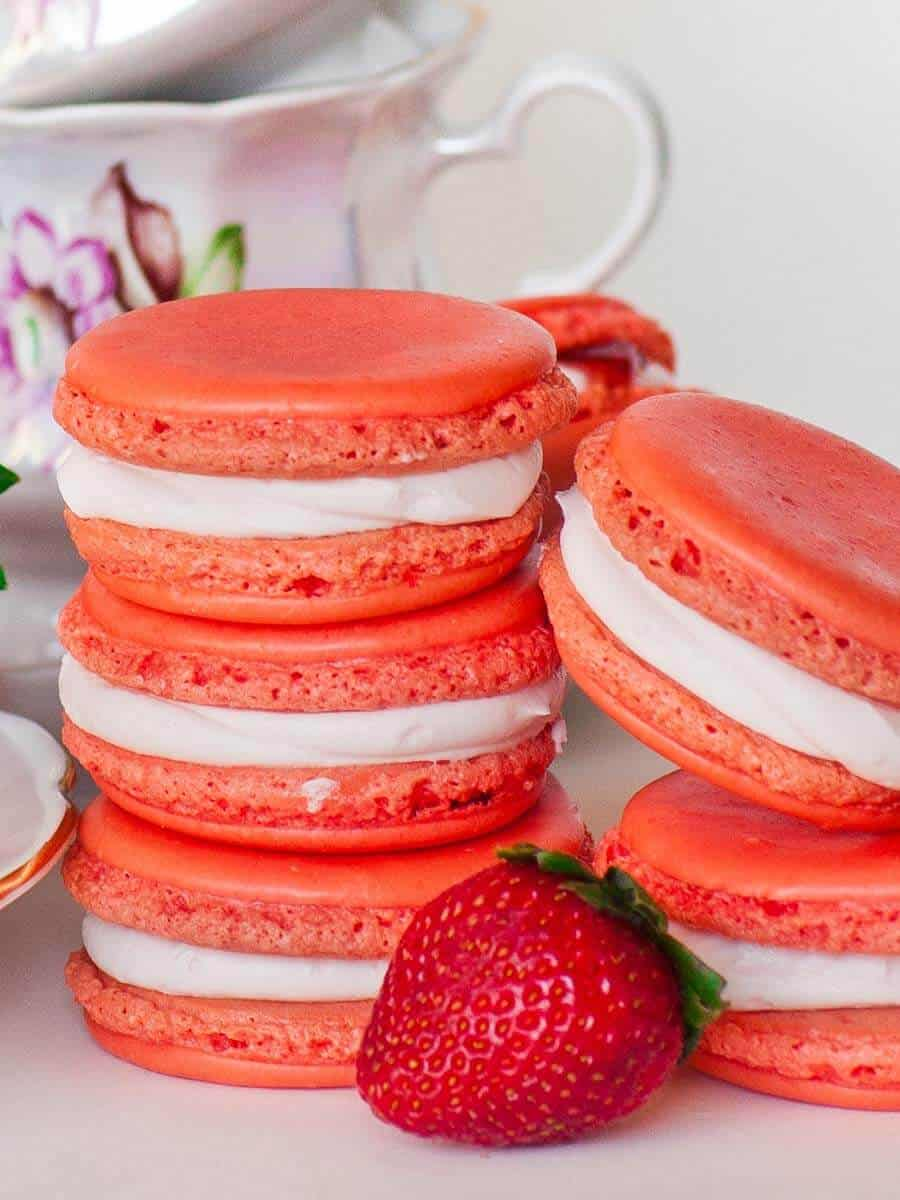 triple strawberry macarons with strawberry buttercream