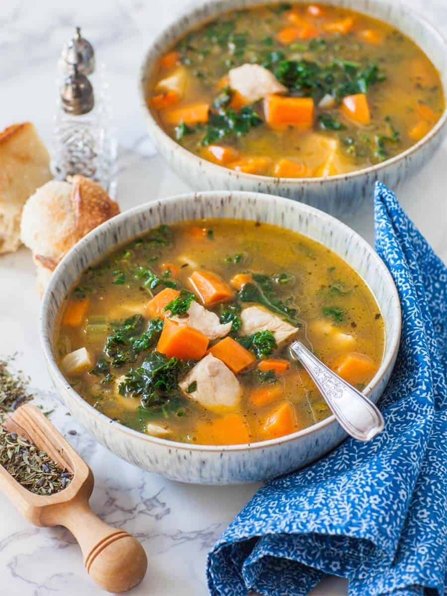 sweet potato kale chicken soup with herbs de Provence and baguette