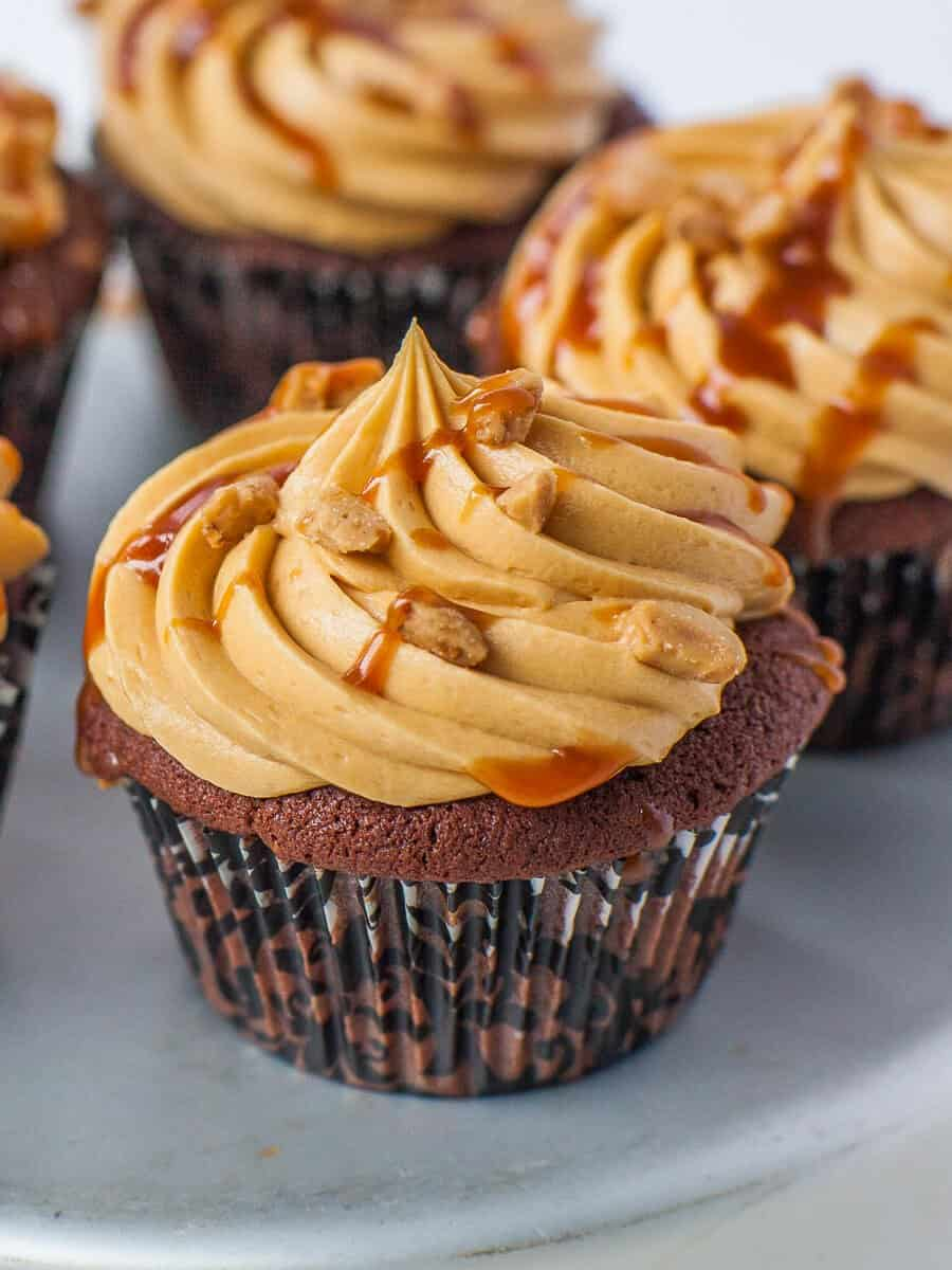 chocolate cupcakes with salted caramel buttercream and toffee chips