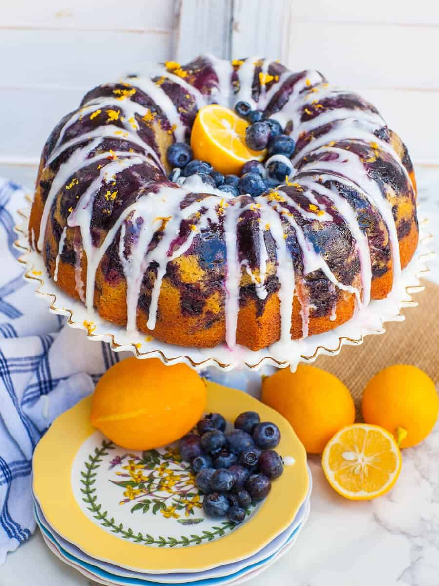 blueberry lemon cake with icing; easy bundt cake recipe