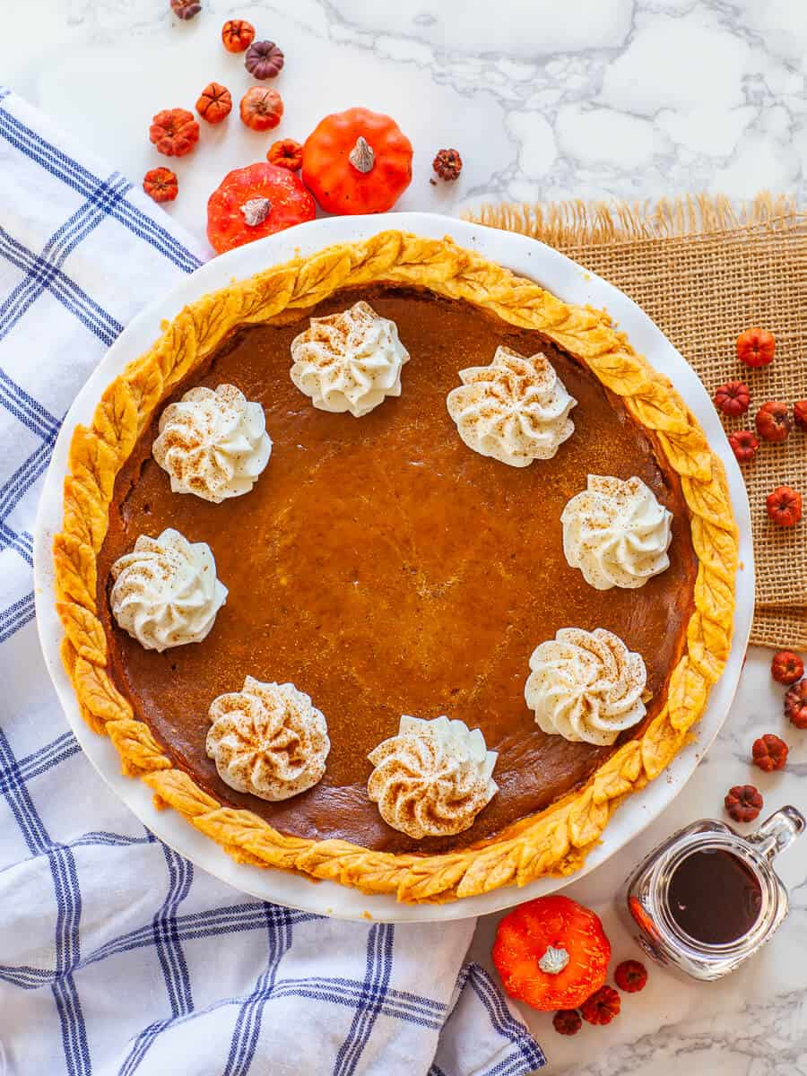 maple pumpkin pie with maple whipped cream