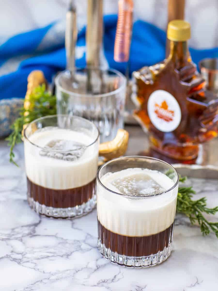 layered maple white russian cocktail recipe