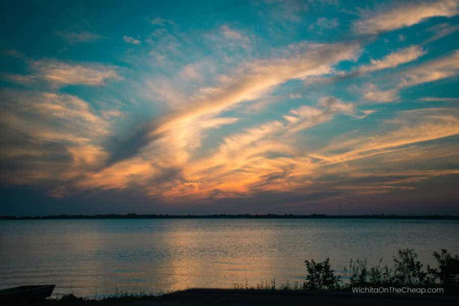 El Dorado lake at sunset, El Dorado State Park Kansas