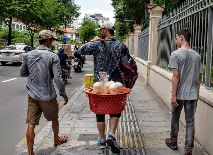 Vietnam travel tips coconut vendor scam to avoid saigon
