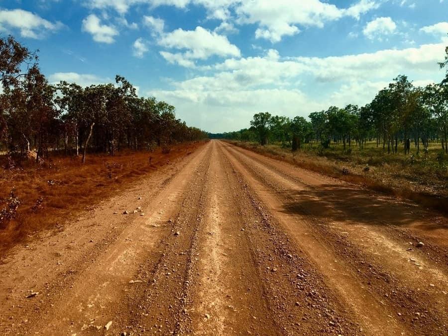 a rocky straight road in Cape York, Australia