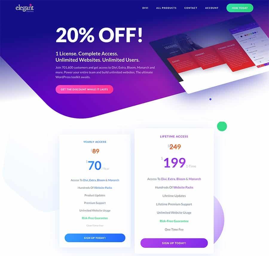 divi elegant themes 20% discount code