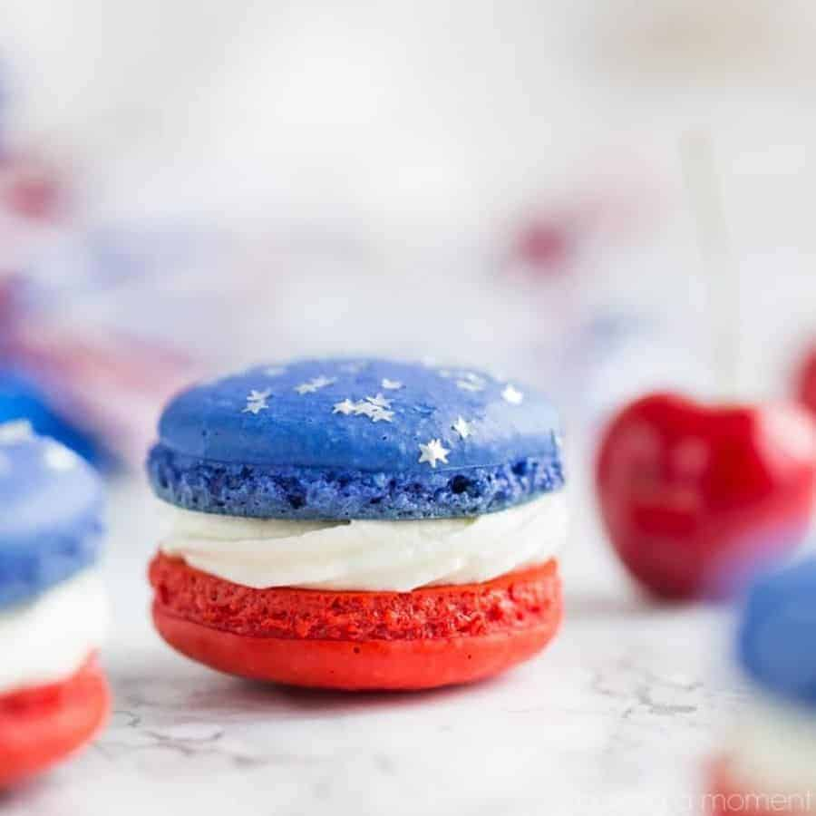4th fo July red white and blue cheesecake macaron, independence day.