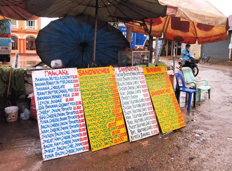 Laos street food stalls Vang Vieng