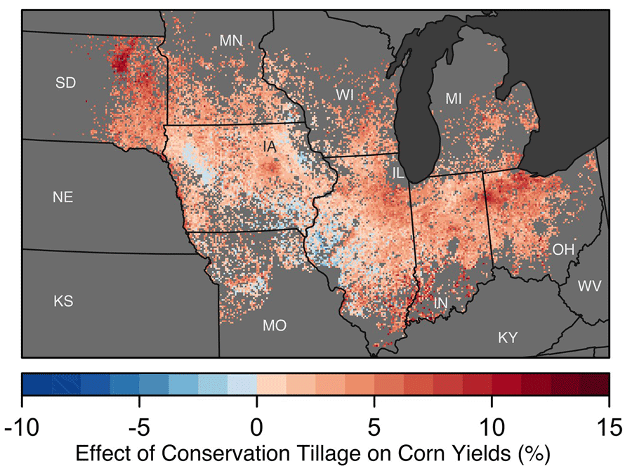 Map showing the impact of conservation tillage on corn production across the US Corn Belt. Source: Deines, Wang, & Lobell, 2019