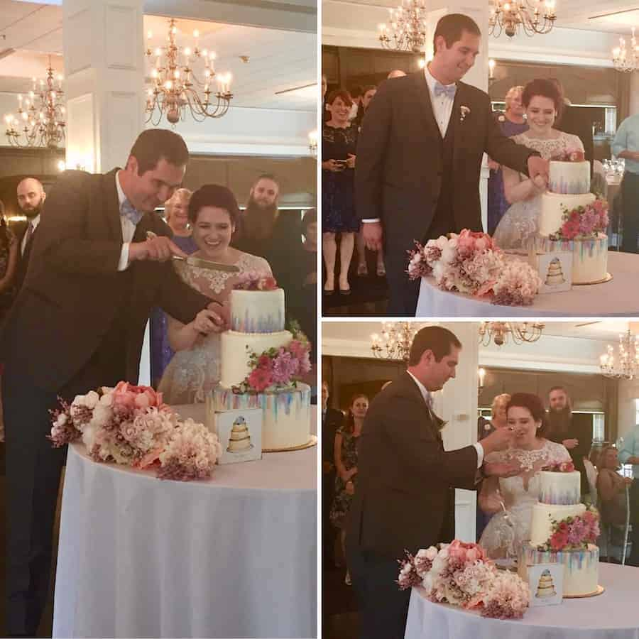 Cutting the wedding cake at the author's daughter's wedding collage