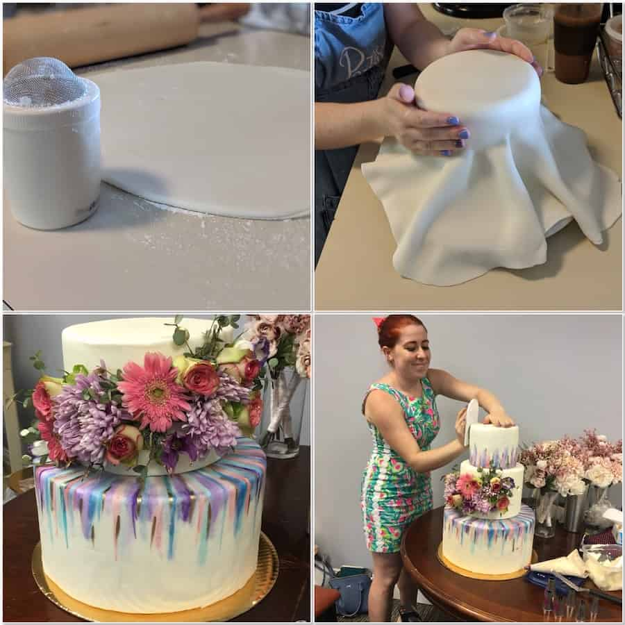 Covering the wedding cake tiers with Marshmallow Fondant collage