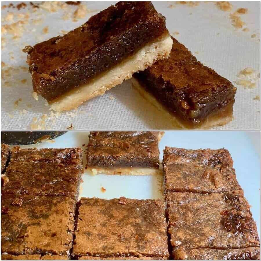 Southern Brown Sugar Pie Bars portioned closeup