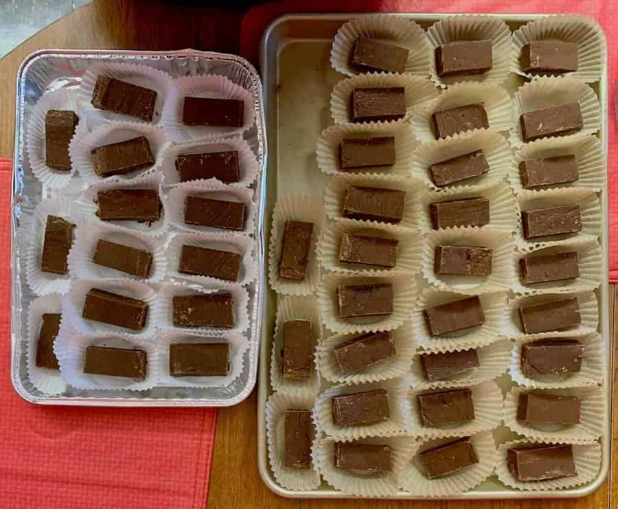 Dark Chocolate Whiskey Fudge portioned on trays