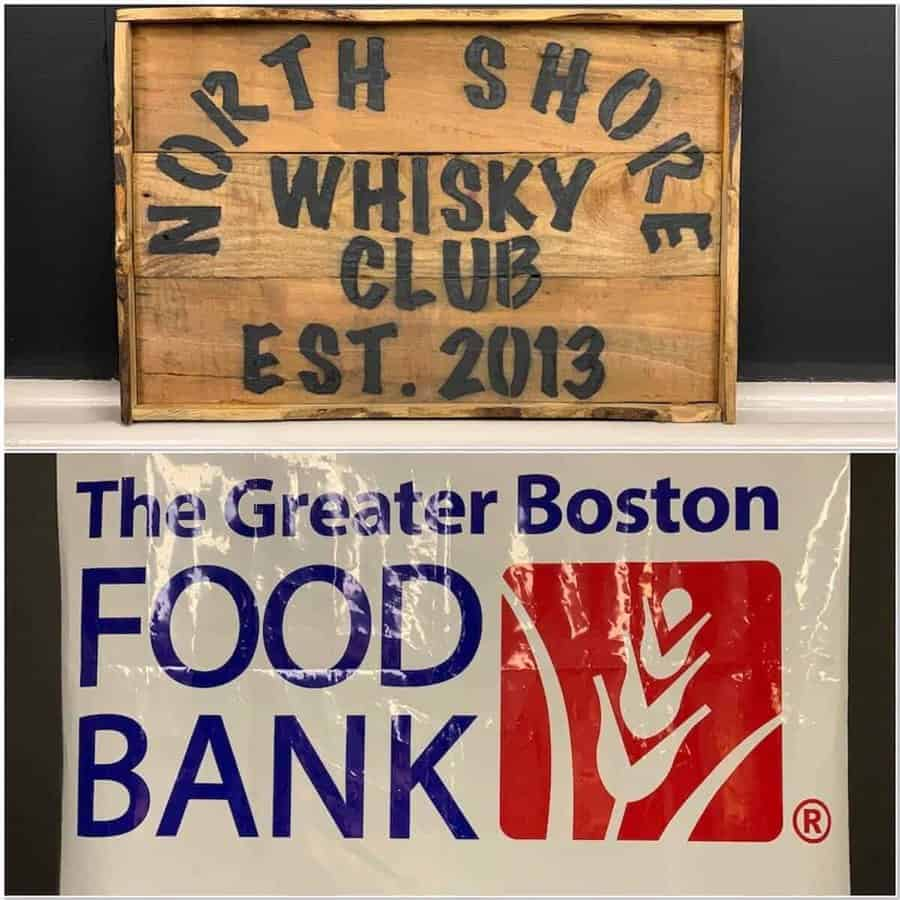 North Shore Whisky Club & Greater Boston Food Bank banners